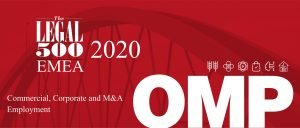 Міжнародний рейтинг The Legal 500 - EMEA 2020 рекомендує Юридичну фірму ОМП, як одну з провідних юридичних фірм в Україні.